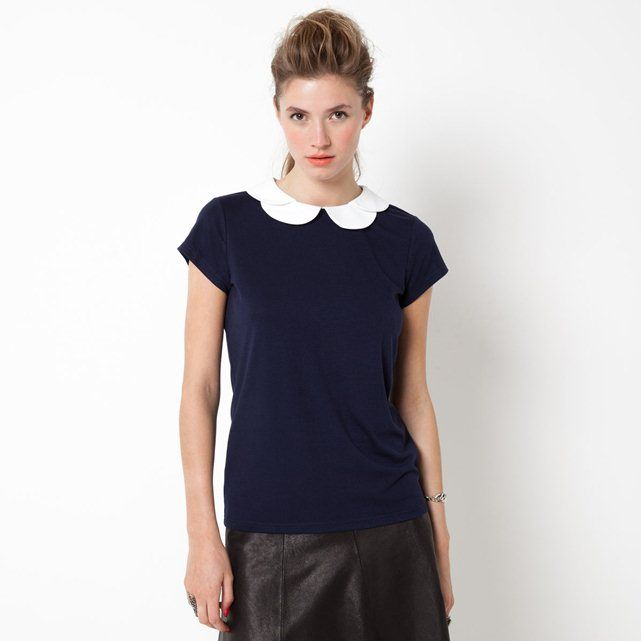 Short-Sleeved Round Neck Jewelled Collar T-Shirt