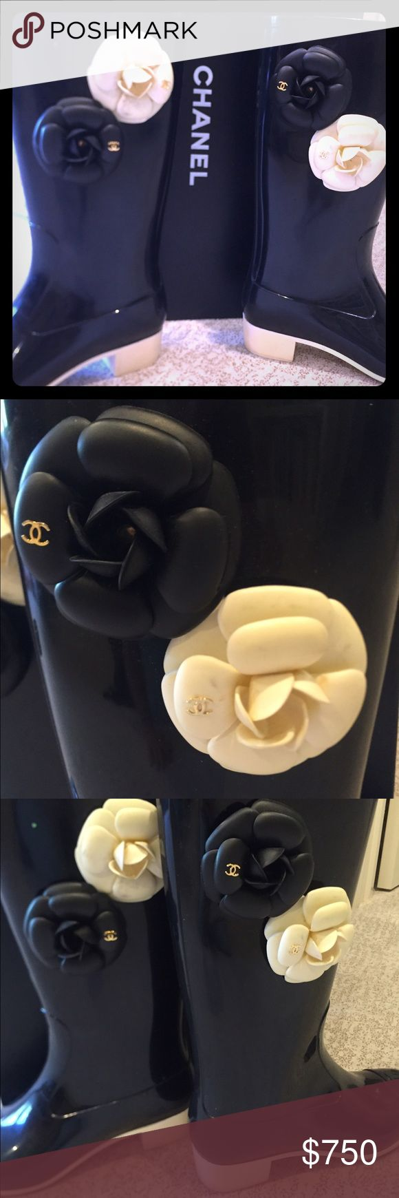 Chanel rain boots Chanel black and white rain boots.. Gently worn. Original box also included. CHANEL Shoes Winter & Rain Boots