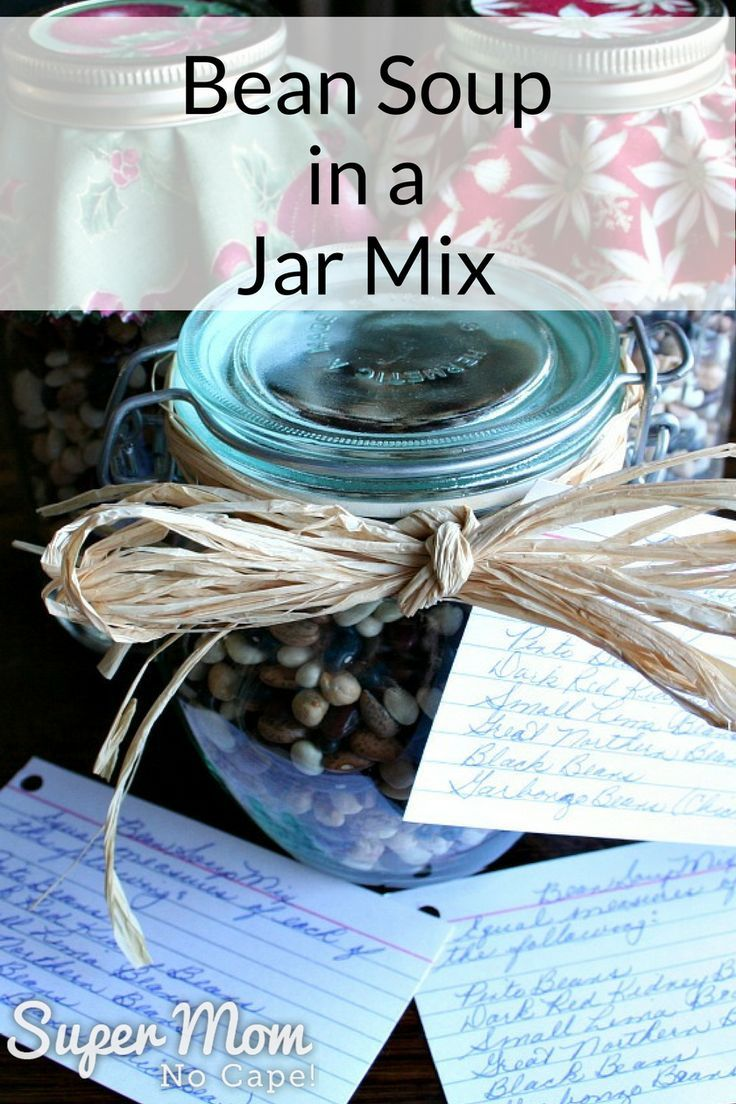 This dried Bean Soup Mix is a great gift for friends, neighbors and teachers. Inexpensive and quick to put together, even at the last minute. #DIYgiftideas #foodgifts #homemadegifts #soup