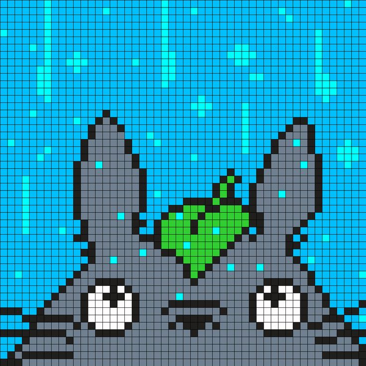 Totoro in the Rain Perler Bead Pattern