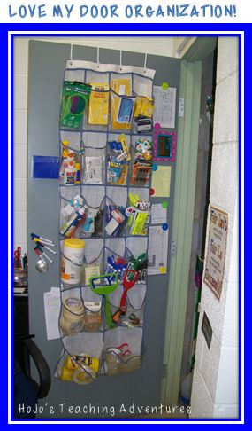 If you've been wanting to get rid of your teacher desk, this is a great way to do it! Keep a shoe storage organizer behind your your closet door for all those items you needed in your desk. It's a great way to get organized in ANY classroom! {preschool, Kindergarten, 1st, 2nd, 3rd, 4th, 5th, 6th grade, middle school, high school} Teacher Hack!