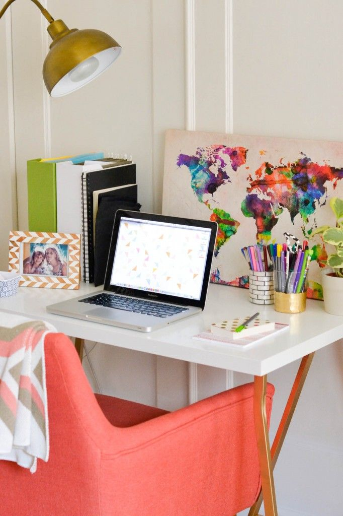 Love the coral chair and multicoloured map print | Amanda Holstein's Simply Cozy Home Office {Office Tour} | The Office Stylist #workspace #office