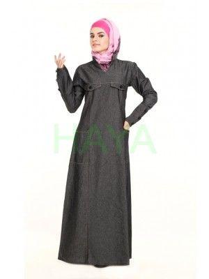 Denim abaya with a trendy edge you always looked for @ http://www.hayaislamicclothing.com/Women/denim-abayas/denim-abaya-180-jb $45.00