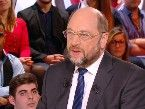 European Parliament President Martin Schulz on French version of the Daily Show, Le Petit Journal. The contrast with the charismatic Italian premier sums up the chasm of nous holding back EU PR.