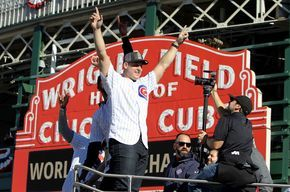 Anthony Rizzo #44 of the Chicago Cubs celebrates during a World Series victory parade on November 4, 2016 in Chicago, Illinois. The Cubs won their first World Series championship in 108 years after defeating the Cleveland Indians 8-7 in Game 7.