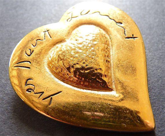YSL Broche vintage Broche coeur doré Yves par VintageParisLuxe