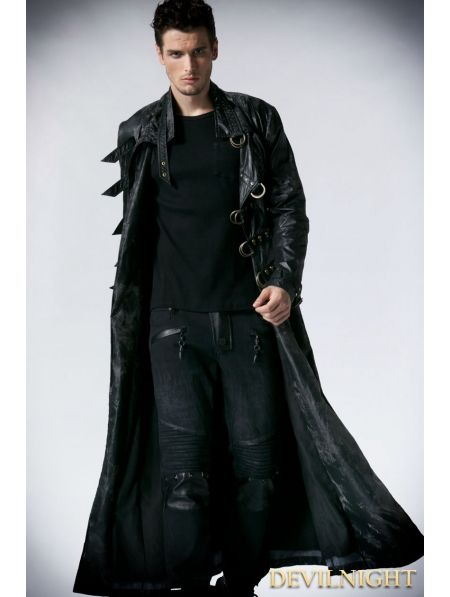 Black Alternative Gothic Long Trench Coat for Men - Devilnight.co.uk