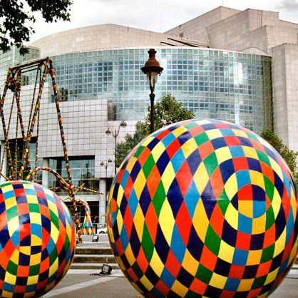 The City of Games Spheres, sculpture artworks by the Greek artist Vassiliki(b.1960) exhibited in front of the Opera of Paris.