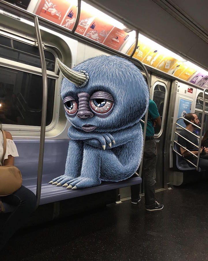 Artist Draws Fantastical Creatures Interacting with Commuters on NYC Subway - My Modern Met