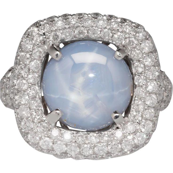 18k Natural Light Blue Star Sapphire Diamond Ring