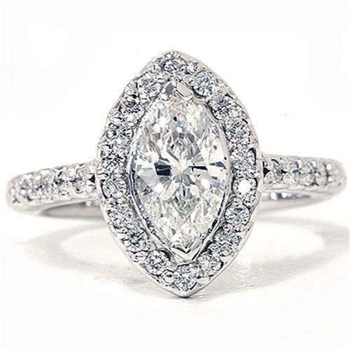 1.40CT Marquise Halo Diamond Ring 14K White Gold by Pompeii3