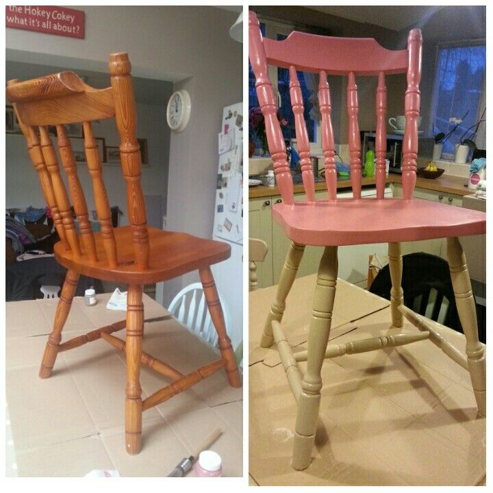A before and after my chair. Painted with Everlong Irish cream and Duchess, with a satin varnish to finish.