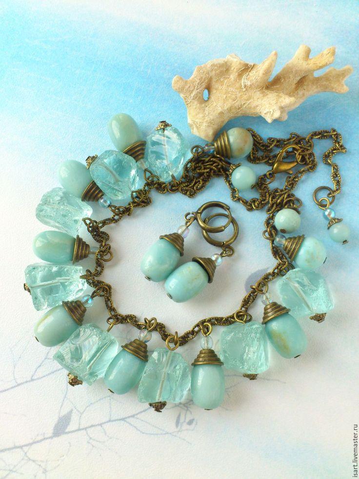 """Купить """"Морская вода"""" комплект украшений из камней. Колье и серьги. Кварц - авторские украшения камни"""