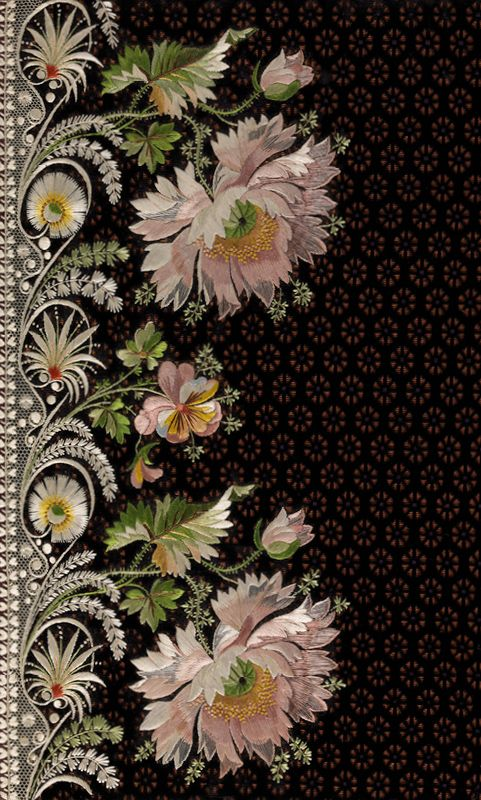 Elaborate Embroidery, done in silk thread for a man's suit. 18th century.