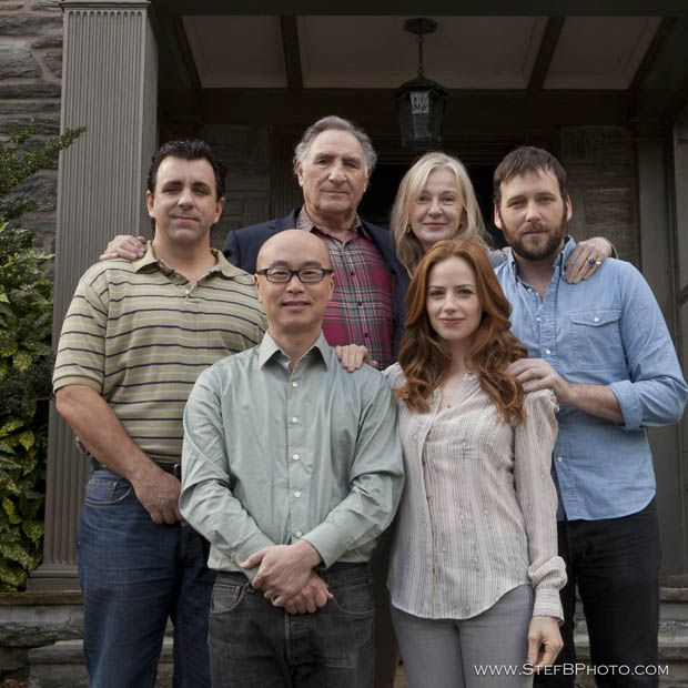 Cast of the U.S. film The Red Robin. In the front row: C.S. Lee, left,  and Jaime Ray Newman. Back row: Joseph Lyle Taylor, left, Judd Hirsch, Caroline Lagerfelt and Ryan O'Nan.