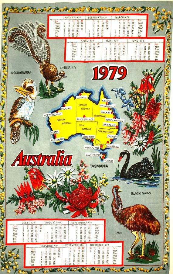 Retro 1979 Australia Calendar Kitsch Tea Towel  by FunkyKoala