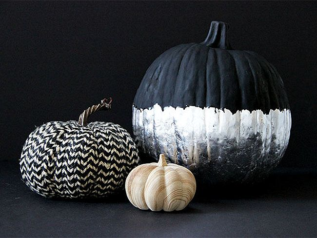 DIY silver leaf pumpkin