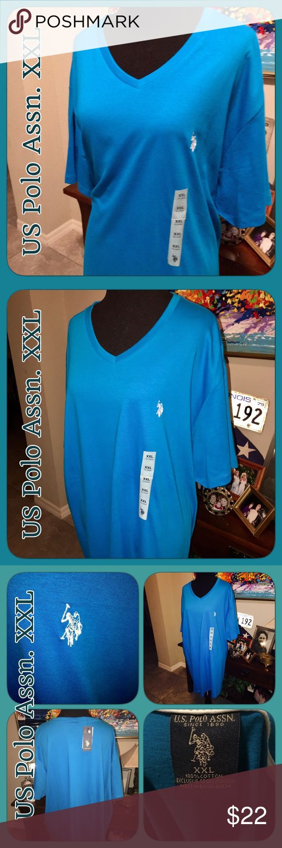 🌷NWT US Polo Association V Neck XXL NWT US Polo Association Turquoise VNeck tshirts. Has the Polo emblem on chest. Is a little long but not as much as it looks on mannequin, I think it looks longer because mannequin is so small, but on the proper size person it would be a good length! Still longer but not to your knees! Beautiful color! Brand new with tags!! US Polo Association Tops Tees - Short Sleeve