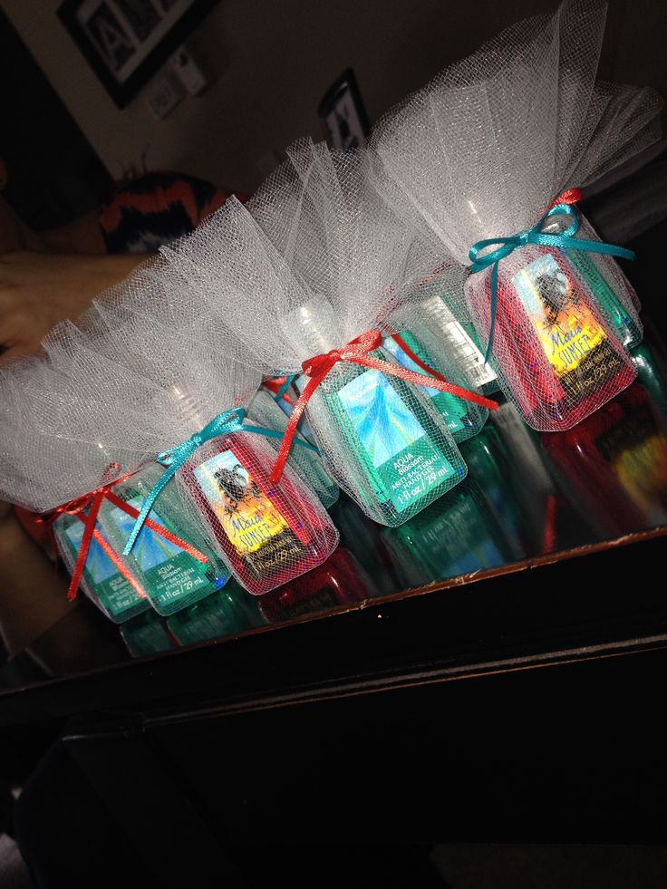 Hand sanitizer party favors!