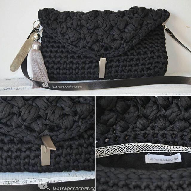 Uallllla como pasa el tiempo!!!! Éste es uno de los últimos bolsos que he tejido en estos últimos meses..las lámparas me llevan de cabeza... tengo que ponerme las pilas #lastrapcrochet #trapillo #trapilloligero #bolso#clutch#handmade #crochet #crochetting #piel