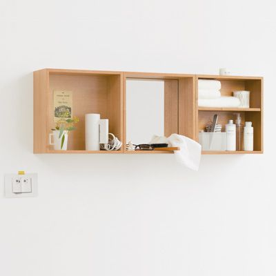 壁に付けられるボックス・ミラー付・タモ材/ナチュラル 幅35.5×奥行15.5×高さ35.5 | 無印良品ネットストア
