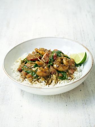 Jamie's south Indian prawn curry - prawns doubled, coconut milk halved, chilli with seeds