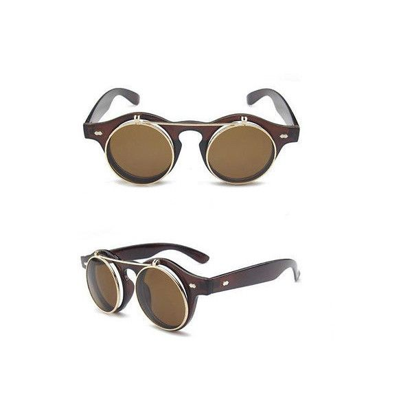 4 Types Women Goggles Glasses Punk Flip Up Steampunk Goth Round... ($2.78) ❤ liked on Polyvore featuring accessories, eyewear, sunglasses, sunglasses eyewear, goth sunglasses, flip sunglasses, round frame glasses and flip up sunglasses