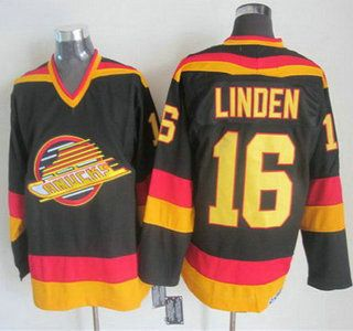 Vancouver Canucks Jersey 16 Trevor Linden 1985-86 Black CCM Vintage Throwback Jerseys