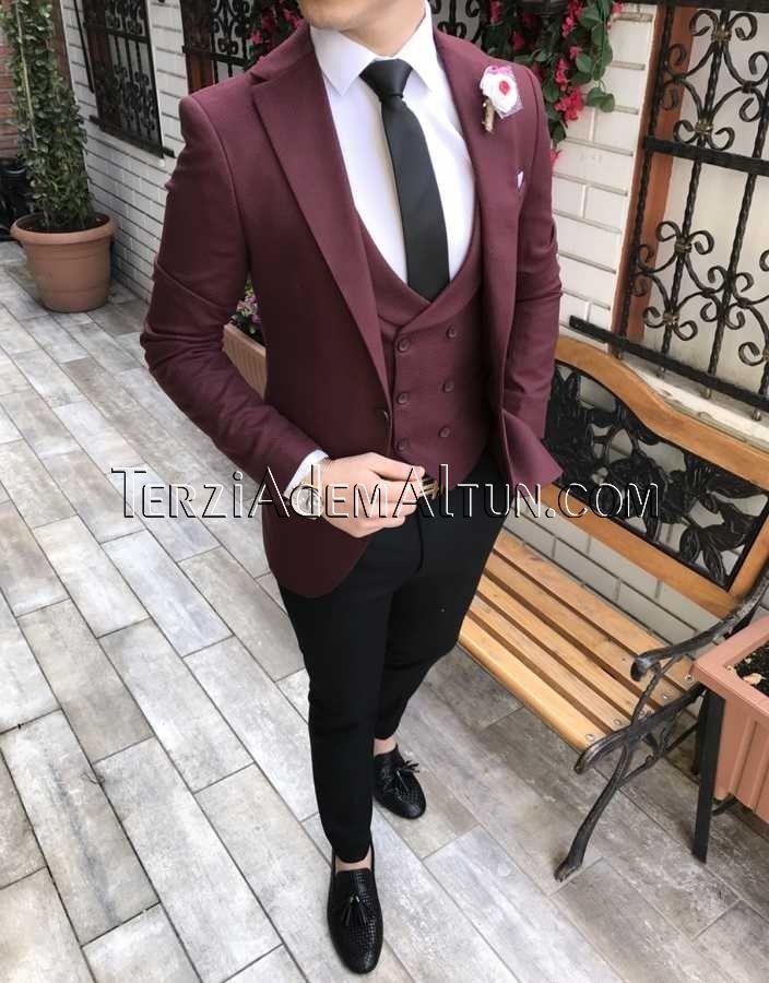 c7cad0f91a6a0 İtalyan stil erkek ceket yelek pantolon bordo kombin takım elbise T2309