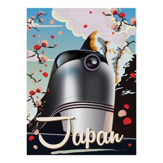 Japan Train vintage travel poster. Poster