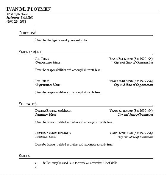blank resume template microsoft word httpwwwresumecareerinfo - Type Of Resume Format