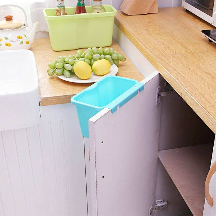 Задняя дверь Висит Мусор Ящик Для Хранения Настольных Мусора Пластиковый Контейнер Кухня Организатор Мусор Коробки Поставки EGL022 купить на AliExpress