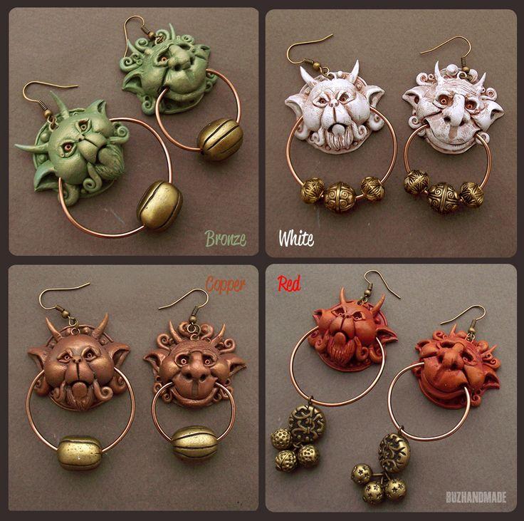 Knocker Earrings Labyrint 4 colors - Buzhandmade by buzhandmade.deviantart.com on @deviantART