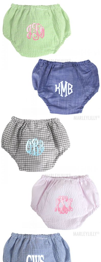 Monogrammed Baby Bloomers from Marleylilly.com! Perfect baby shower gift! #baby #babyshower #gift