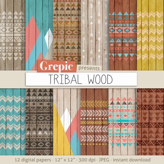 Tribal digital paper TRIBAL WOOD with aztec tribal patterns backgrounds by Grepic