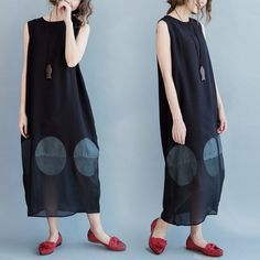 Sleeveless Big Dot Summer long dresses Causal Dresses Plus Size Oversize Women Clothes Q2101