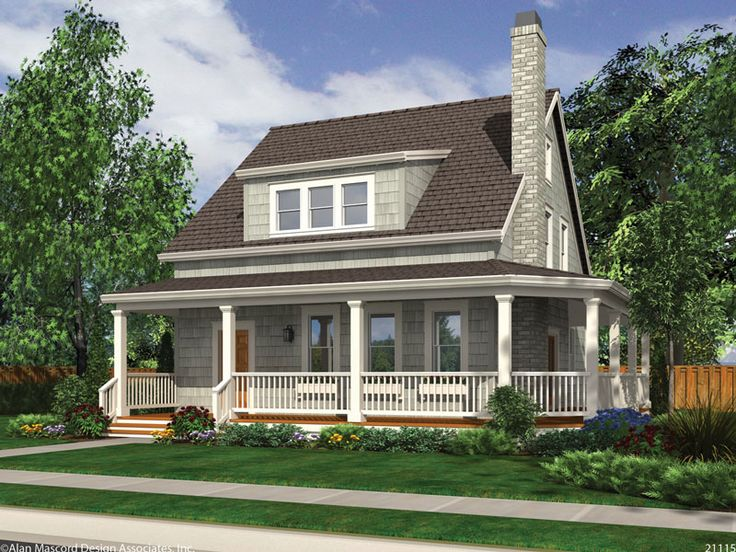 Charming 3 bedroom cottage house plan features a for Beach house designs with wrap around porch