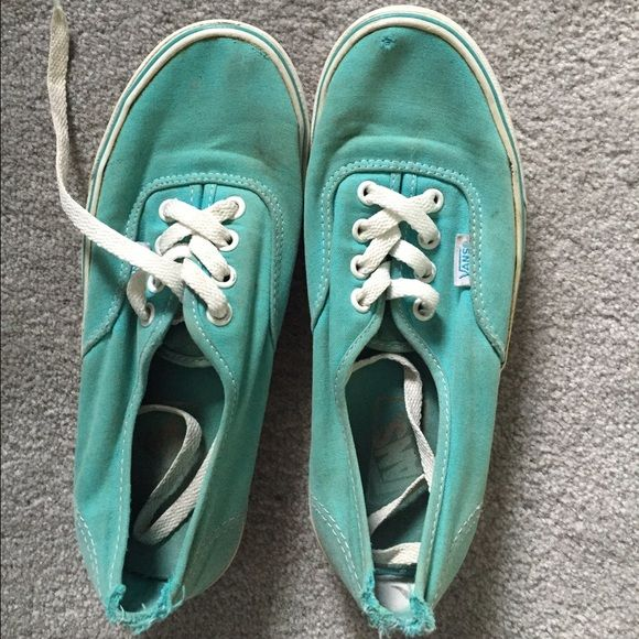 Vans Teal vans! Worn a little as seen in the picture with a little discoloration! Vans Shoes Sneakers