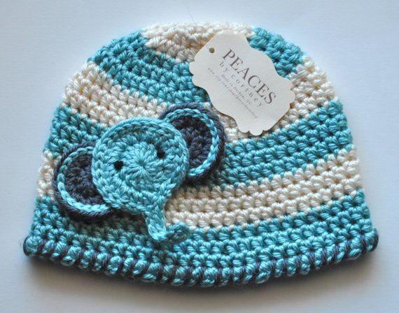 Baby Hats - Blue Elephant Baby Beanie Hat (Baby Gifts Baby Beanie Newborn Hat Crochet Baby Hat Newborn Hats Baby Beanies). $28.00, via Etsy.