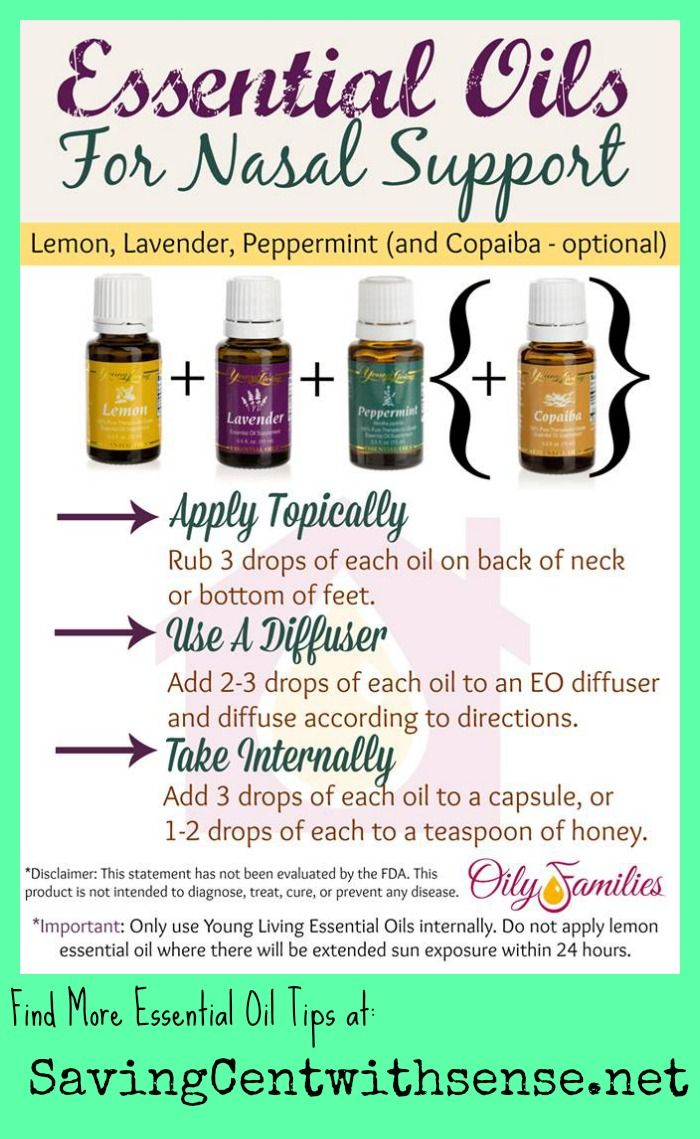 Nasal Support with Essential Oils  Lemon Peppermint Lavender - I didn't have Copaiba, so used Thieves instead.  Couldn't hurt...