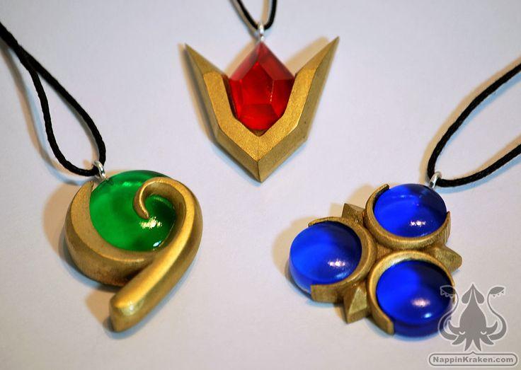 Legend of Zelda Spiritual Stones Set of Charms Ocarina of Time by NappinKraken on Etsy https://www.etsy.com/listing/104146691/legend-of-zelda-spiritual-stones-set-of