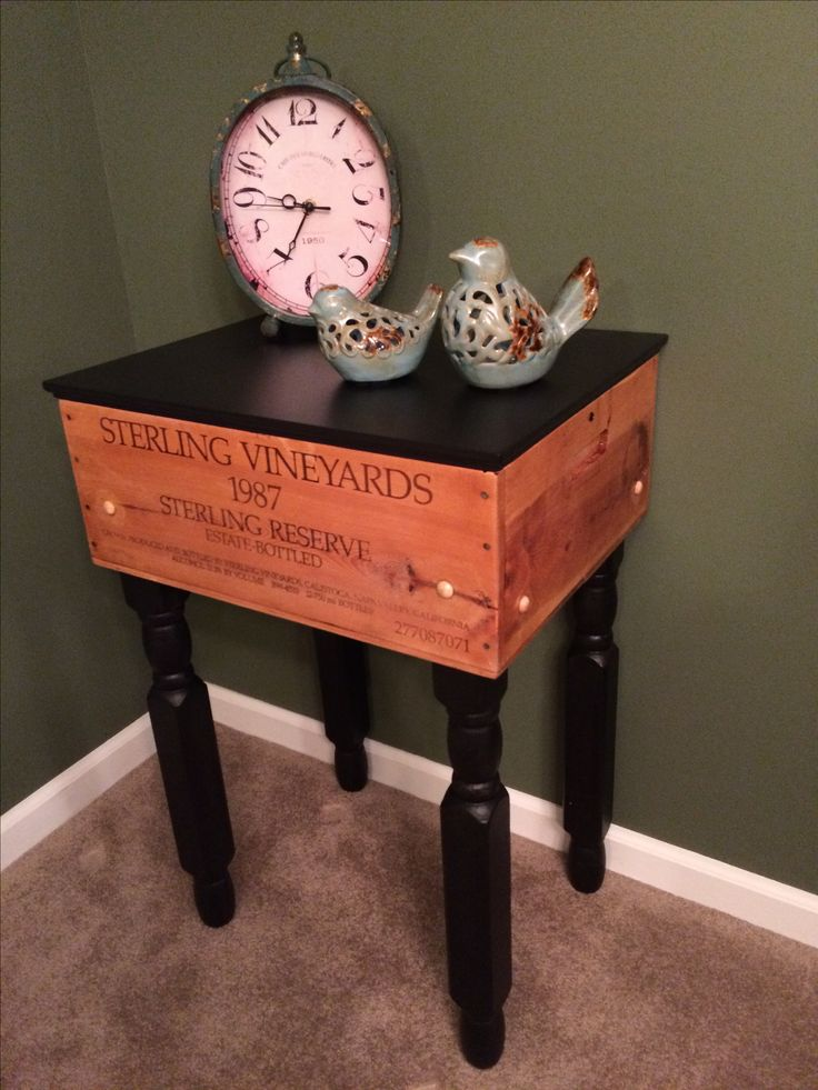 Made a side table from an old wine crate.