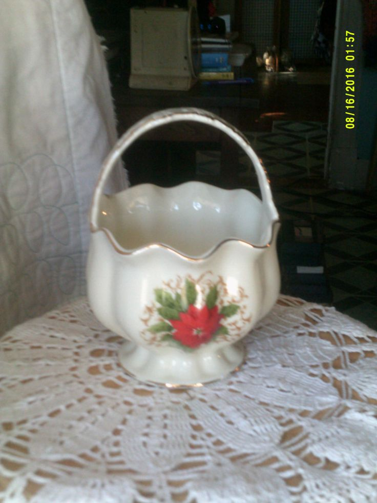 Handled Basket White Porcelain Made by Essex MFG. China. Red Poinsettia Christmas Vase by WaterBearingDragon on Etsy
