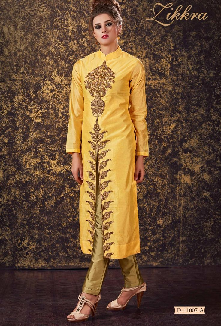 Semi Stitched #Yellow #Silk Shalwar #Kameez #Suit #nikvik  #usa #designer #australia #canada #freeshipping #fashion #dress #suits #sale
