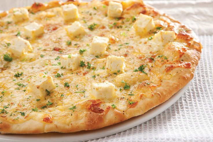 Three Cheese Flat Bread. Flat bread topped with mozzarella, cheddar and feta cheese | Panarottis http://www.panarottis.co.za/ourmenu/flatbreads