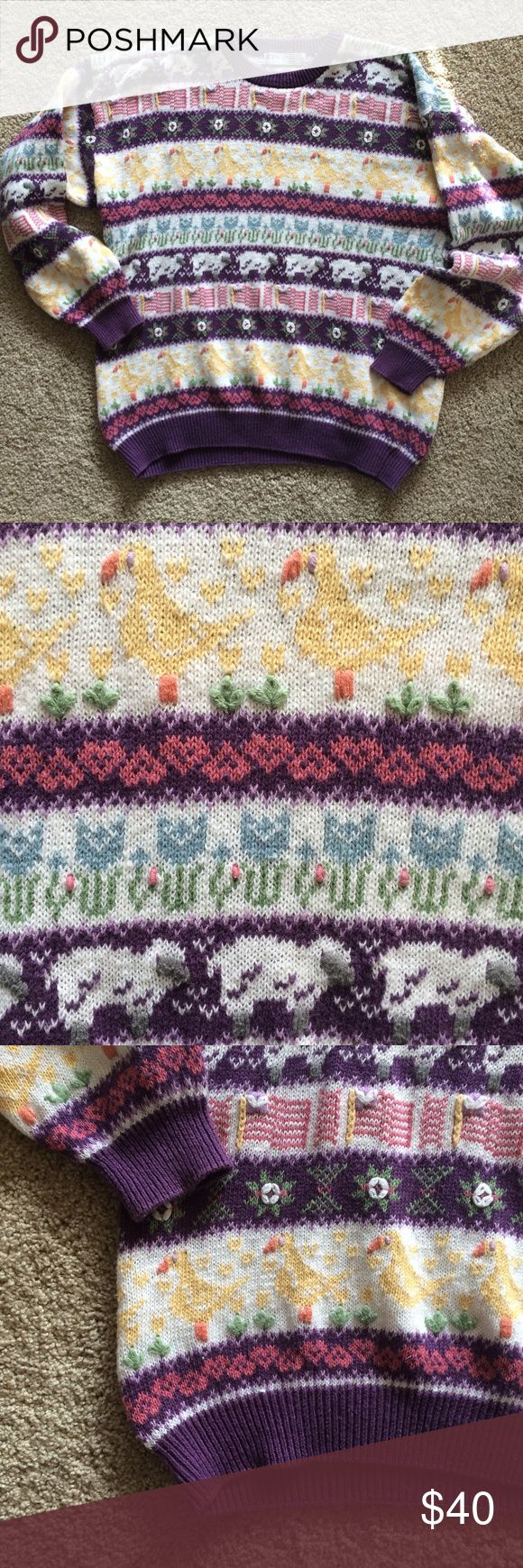 ✨RARE! vintage hand-embroidered animal sweater ✨ One-of-a-kind! And soooo cute! Perfect for spring. 80s vintage Northern Isle sweater. Hand-embroidered sheep, ducks, tulips, hearts and other patterns. Purple background with white stripes. Ramie/cotton blend - warm but still breathable. Oversized. Crew neck. Pullover. Hem that slightly curves up. From a smoke-free home. Please comment with any questions, or feel free to make an offer! Northern Isle Sweaters Crew & Scoop Necks