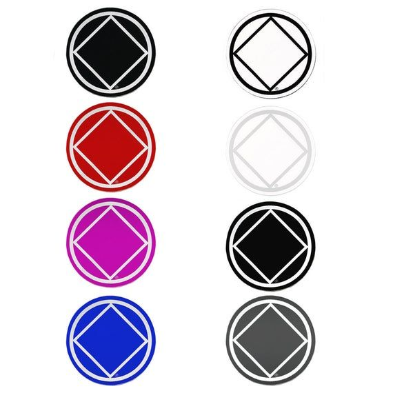 Set Of 8 3 Rs6 Round Na Recovery Symbol Stickers All 8 Etsy Symbols White Ink Red Ink