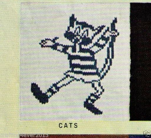 VINTAGE AFL FOOTBALL CATS CHILDS GUERNSEY JUMPER 60-75CM 8PLY KNITTING PATTERN