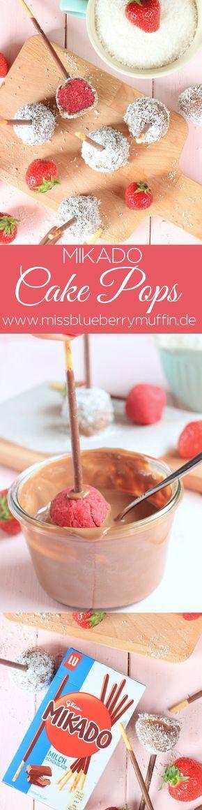 MIKADO Cake Pops mit Erdbeer und Kokos // Cake Pops with strawberries and coconut <3  #deineartdeinstick