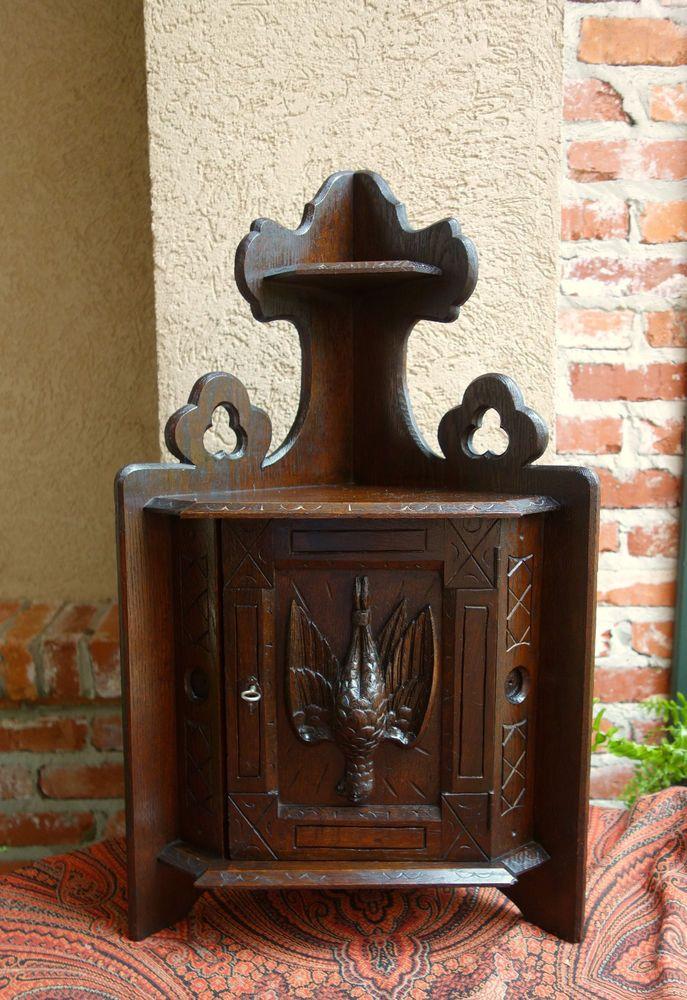 Small Antique French Carved Dark Oak Corner Cabinet Shelf Wall Hunt Pheasant   | eBay